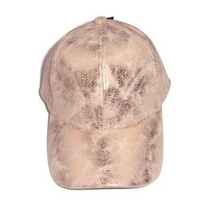 Metallic Rose Gold Shimmer Hat NWT Cap Adjustable
